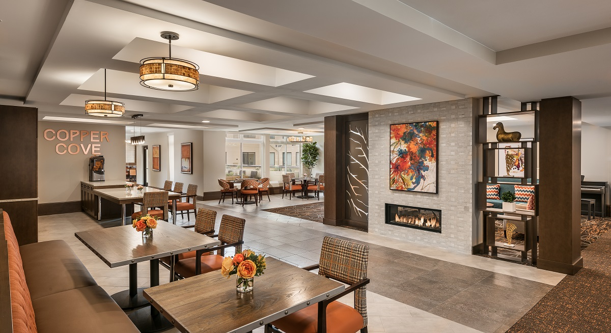 Copper Cove dining with fireplace.