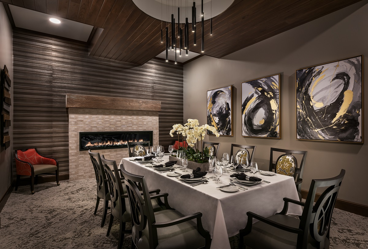 Private dining with fireplace.